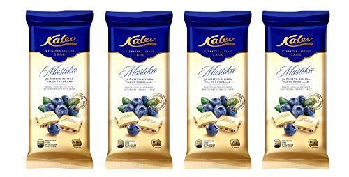 KALEV Witte chocolade met rijst krokant & bosbes – 95g x 4