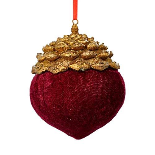 Stilè Pigna in Resina Oro e Velluto Rosso,Pallina per Albero di Natale in Velluto a Forma di pigna, Decorazione da Appendere