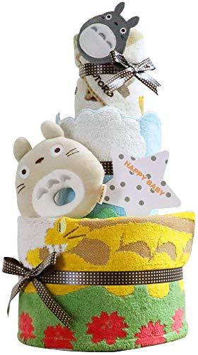 となりのトトロ おむつケーキ 出産祝い 名入れ刺繍 3段 オムツケーキ 男の子 女の子 スタジオジブリ (パンパーステープタイプLサイズ)