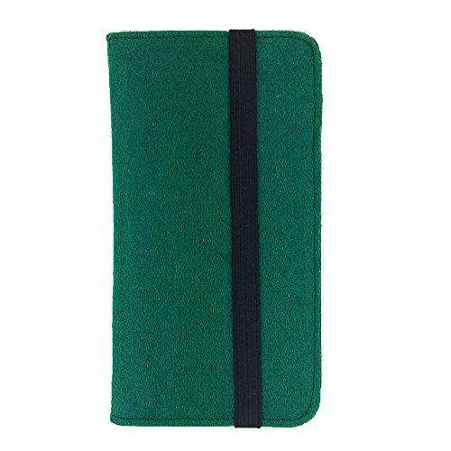 handy-point Universell Organizer für Smartphone Tasche aus Filz Filztasche Filzhülle Hülle Schutzhülle mit Kartenfach für Samsung, iPhone, Huawei (5,6-6,4 Zoll max 18 x 9,3 m, Grün dunkel)