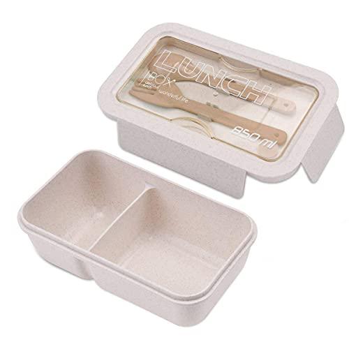 ROVLAK Fiambrera Niños Ecologica Caja de Almuerzo Portatil con 2 Compartimentos Fiambrera Hermetica con Cubiertos BPA-Free No-Tóxico 850ML polypropylene Caja de Almuerzo para Adultos y Niños, Beige