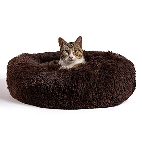 """Best Friends by Sheri The Original Calming Donut Cat and Dog Bed in Shag Fur, Machine Washable, for Pets up to 25 lbs. - Small 23""""x23"""" in Dark Chocolate"""