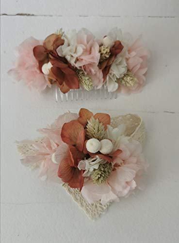Peineta y pulsera de flores preservadas