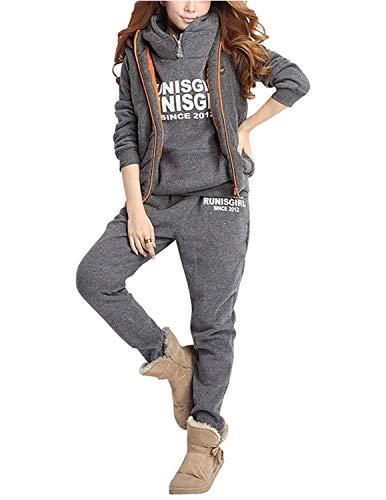 CARINACOCO Mujer 3pcs Chándal Encapuchada Casual Conjuntos Deportivos Otoño Invierno Sudadera con capucha Sweatshirt + Hoodie Chaqueta Chaleco + Pantalones Gris M