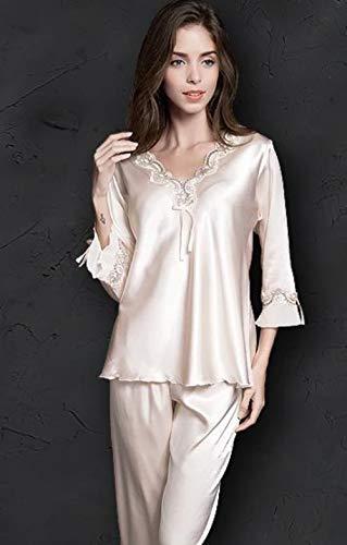 Pyjama Pijamas Dames Dames Broekpak Dames Lange Mouw Pyjama Dunne Knop Zijde Slapen Thuis Pak Nachtkleding, Lotuswortelzetmeel, Xl 62-72 Kg
