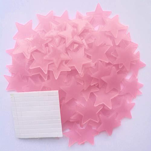 QASUF 50 * 3D Pegatinas para el hogar Estrellas Luminoso Pegatinas de Pared Fluorescente Decoración de la Pared Pegatinas Niño Nursery Nursery Decoración (Color : Pink)