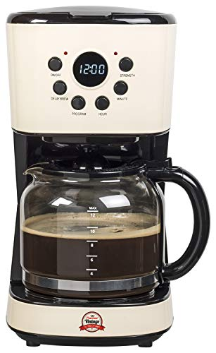 Bestron Kaffeemaschine im Vintage Look, Programmierbare Zeiteinstellung, 12 Tassen, 900 W, Creme/Schwarz