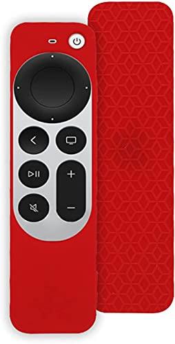 Funda de Silicona Suave Todo Incluido para Apple TV 4K Remote Controller 2021, protección de Cuerpo Completo, Funda a Prueba de Golpes, antiarañazos, cómodo, Ligero y práctico (Rojo)