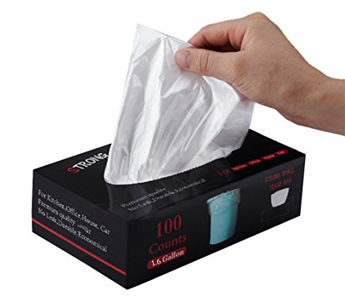 Feiupe 1.6 Gallon Extra Strong Small Trash Bag Garbage Bag Trash Can Liner,100 Count (1.6 Gallon)