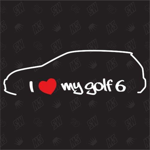 speedwerk-motorwear I Love My Golf 6 - Sticker kompatibel mit VW - Baujahr 2008-2012