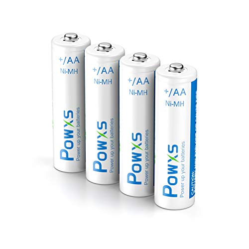 POWXS Rechargeable AA Batteries 2000mAh 4 Pack With Case Pre-Charged 1.2 Volt Ni-MH High Capacity Durable AA Batteries