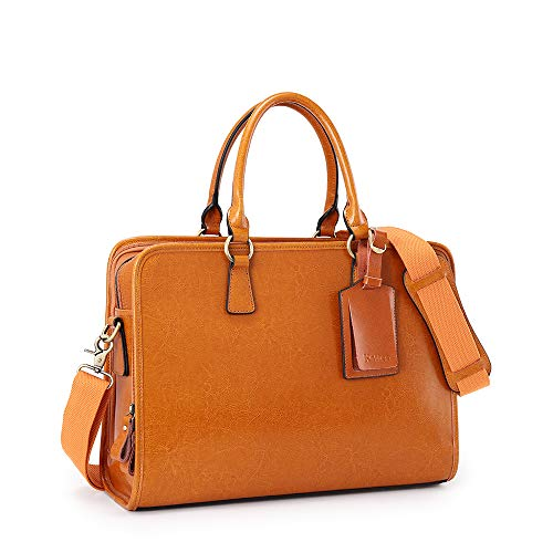 Kattee Genuine Leather Briefcase for Women, Large Capacity Laptop bag with Luggage Tag (Brown)
