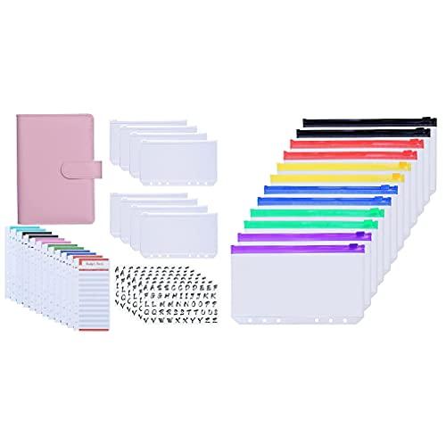Antner A6 PU Leather Binder Expense Budget Sheets Letter Sticker Labels Cash Envelopes System (Pink) Bundle   12pcs A6 Binder Pockets Multicolor Zipper
