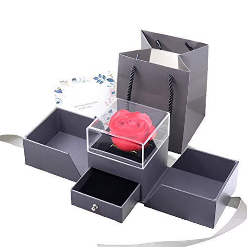 Caja de Regalo de Rosa eterna La Bella y la Bestia Rosa eterna en una Caja de joyería Flores preservadas Caja de Rosas Anillo/Collar Caja de Almacenamiento para el Día de San Valentín, Gris