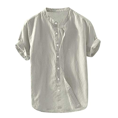 Shirts For Men Cotton And Linen Solid Short Sleeve Button Retro Tops And Blouse Linen Shirt Mens-Gray_4XL_0