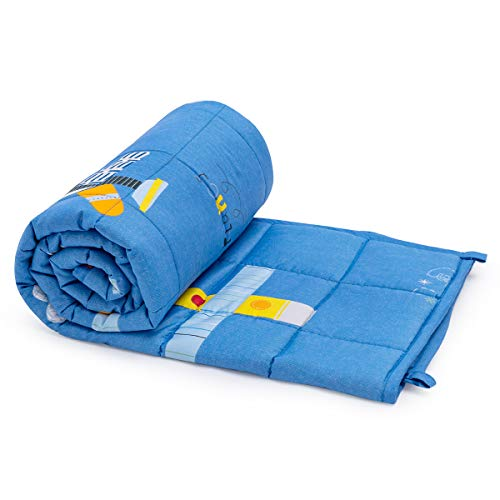 Anjee Kids Weighted Blanket, Schwere Decke aus 100% natürlicher Baumwolle für Kinder und Jugendliche, 3 kg 100 x 150 cm, Blaues Flugzeug