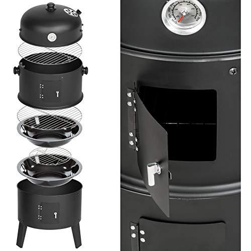 TecTake BBQ GRILL BARBECUE CHARBON DE BOIS FUMOIR SMOKER - diverses tailles au choix - (3en1 BBQ...