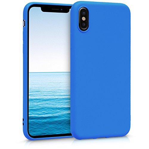kwmobile Custodia Compatibile con Apple iPhone X - Cover in Silicone TPU - Back Case per Smartphone - Protezione Gommata Blu Fluo