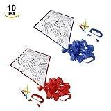 Fun Fan Line® – Set de 10 Cometas para Colorear con Bordes Azul y Rojo y diseño animalitos...