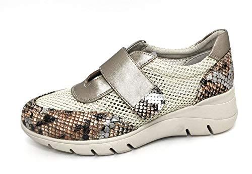 Encarni Zapatería - Deportivas Mujer Plataforma y Cuña | Bambas Comodonas | Zapato para Vaqueros y Vestidos con Estilo | Tenis Casual | Transpirables | Primavera Verano - All (Beige Velcro, 38)