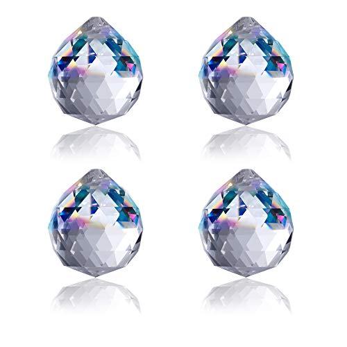 BELLE VOUS Cuentas de Cristal Transparente (Pack de 4) Candelabro Colgante Araña 4,5 cm - Bola de Cristal Abalorio Prisma Decoración, Repuestos Cristal Lamparas, Atrapasueño, Fiesta Navidad/Boda