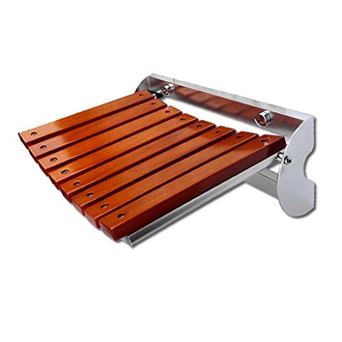 MyAou-Shower Chair Massivholz Hocker Oberfläche Edelstahl Klappwand Hocker Wand Stuhl Badezimmer Klappstuhl Klappschuh Bank (größe : 32cm)