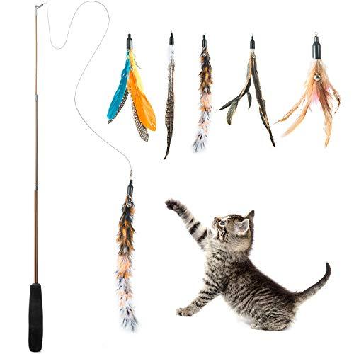WolinTek Interaktives Katzenspielzeug, Katzenspielzeug Einziehbare Natürliche Federstab Katze Spielzeug mit 5 Stück Katzenangel Ersatz mit Glocken Katzenspielzeug