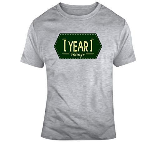 Vintage Your Year Age Nacimiento Año Fecha de nacimiento Cumpleaños Personalizado Camiseta Gris
