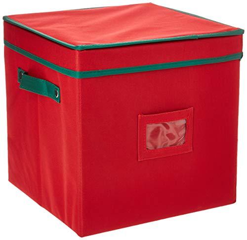 Elf Stor 83-DT5021 1022 Enfeite de Natal vermelho premium para armazenamento de 64 bolas com divisórias, estojo