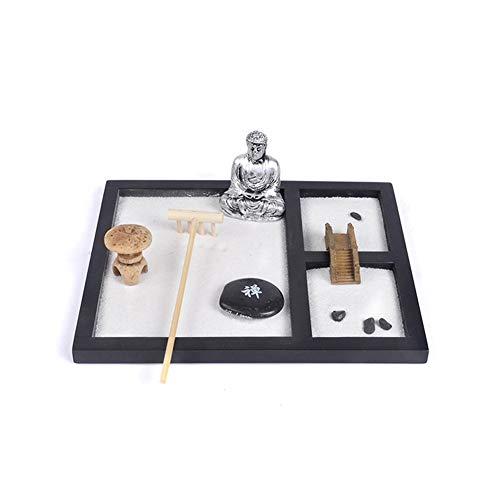 Excellent112 - Adornos de meditación de arena zen, base de madera, Buda de arena blanca, resina mental, Tai Ji, adorno chino para decoración de jardín, portavelas (blanco y negro)