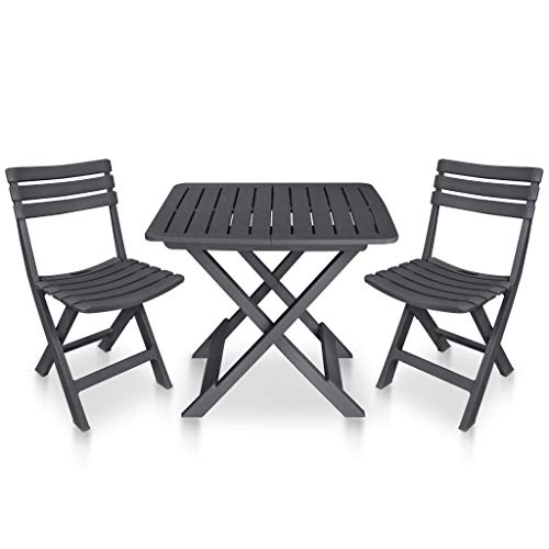 vidaXL 3 Piece Folding Bistro Set Plastic Anthracite Simple Outdoor Furniture Sets Bistro Set of Foldable Garden Table and Chairs Balcony Set