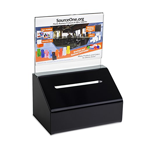 Source One Heavy Duty Small Donation/Ballot Box with Lock and Sign Holder 5 Inch Wide (1 Pack, Black)