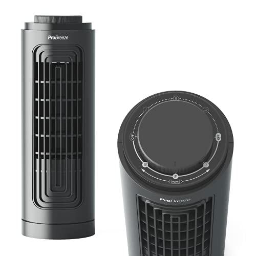 Pro Breeze 13' Desktop Mini Tower Fan with 3 Fan Speeds, Portable Desk Fan, Automatic Oscillation, & Quiet Cooling Technology for Home Office Kitchen & Garden - Black