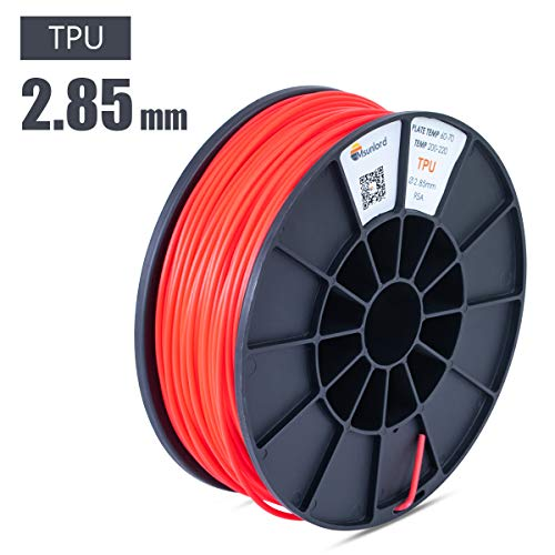 Msunlord TPE 3D Printer Filament, 95A TPE 2.85mm (Accuracy +/- 0.05mm) Flexible 3D Printing Filament, 0.95Kg Spool, Red for 3D Printers or 3D Pens