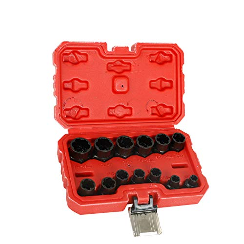 13pc 3/8 inch Impact Bolt & Nut Remover Set, Nut Extractor Socket, Bolt Remover Tool Set 8mm-19mm