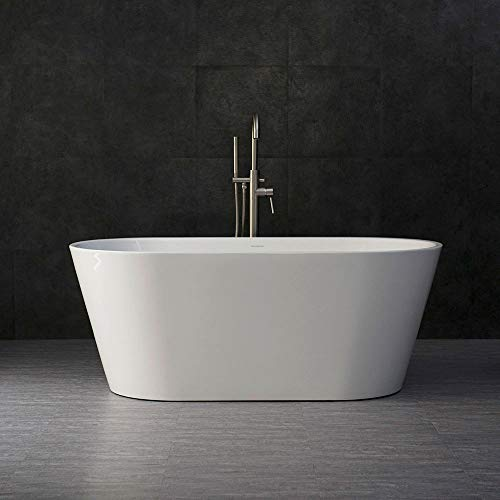 """Woodbridge 59"""" Acrylic Freestanding Bathtub Contemporary Soaking Tub with Brushed"""