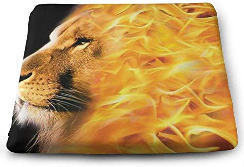 N/A Premium Sitzkissen aus Memory-Schaum, groß, brennendes Feuer mit Löwen, ideal für Holzküche, Esszimmerstühle, Büro, Autositz und Rollstuhl, 38,1 x 34,9 x 3,2 cm