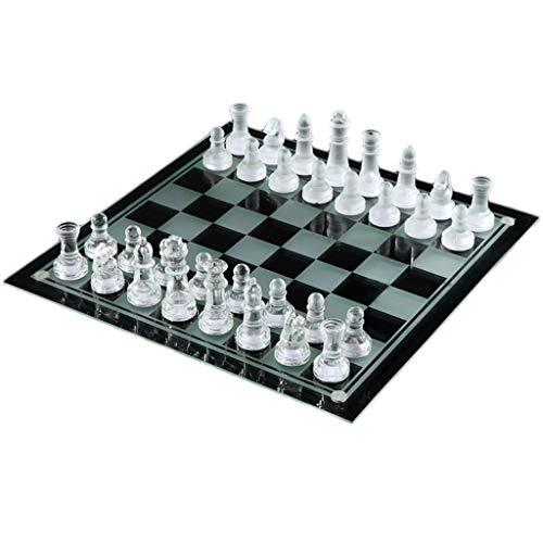 LOFAMI Traditionelle Spiele Schach Elegante K9 Kristallglas Schach Wrestling Verpackung Schachspiel International Checkers Chess Set Brettspiel Schach Schach (Color : Clear, Größe : 35 * 35cm)