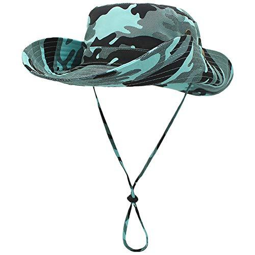 WANYING Damen Herren Outdoor Sonnenschutz Bucket Hut Fischerhut Baumwolle Two Way to Wear für Kopfumfang 55-62 cm Helltürkis Camouflage