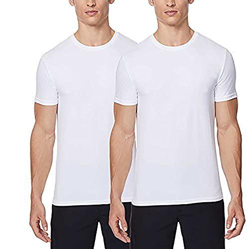32 DEGREES,Mens 2pack Short Sleeve Crew Neck Wicking Tee,White/White,Medium