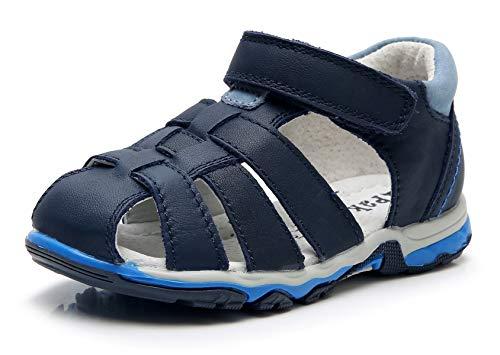 Apakowa Niños Sandalias de Cuero Sandalias de Verano con Puntera Cerrada y Hebilla Sandalias Trekking y Senderismo Zapatillas Casuales Playa Piscina Deportes y Zapatos Planos al Aire Libre