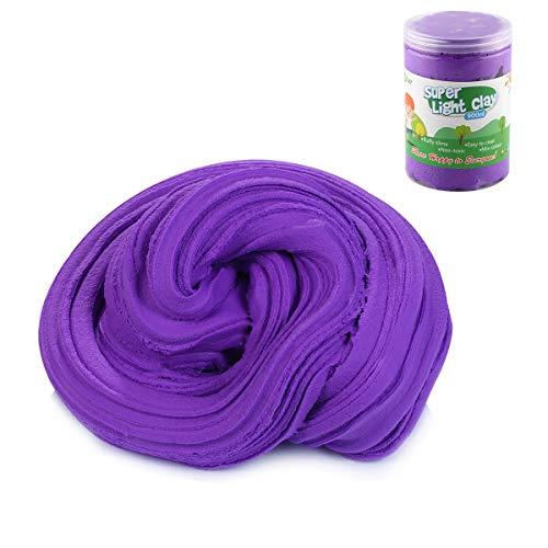Luclay DIY Fluffy Schleim Kinder Putty Spielzeug Geschenke Slime Stress Relief Toy für Kinder und Erwachsene Weich(Lila)