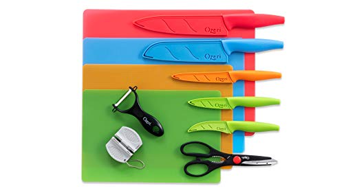 Ozeri Elite Chef 17-Piece Stainless Steel Knife & Cutting Mat Set, in Color