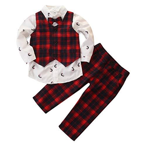 Conjunto de ropa de niños de 0 a 10 años de edad, 3 piezas de niños de moda casual impresión camisa de...