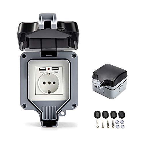 Toma de Corriente Exterior IP66 Conector USB con Interruptor para Pared Enchufe con Tapa Abatible para Jardines al Aire Libre y Garajes (Única)