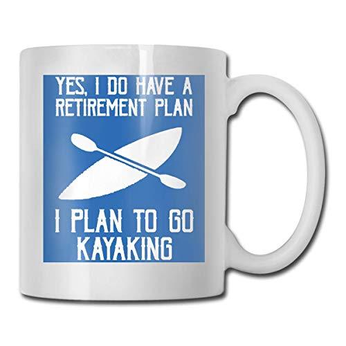 Taza para kayak I Plan to GO, taza de café para bebidas calientes, taza de gres, taza de café de cerámica, taza de té de 11 onzas, divertida taza de regalo para té y café
