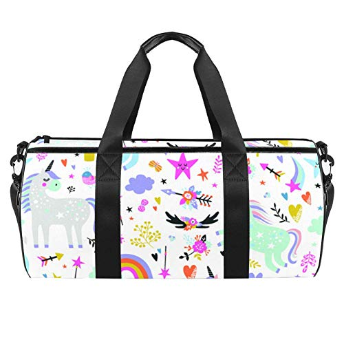 TIZORAX Sports Gym Bag Waterproof Roll Duffel Bag Cartoon Unicorn Rainbow Floral Travel Gym Tote Dry Wet Separated Luggage for Women and Men