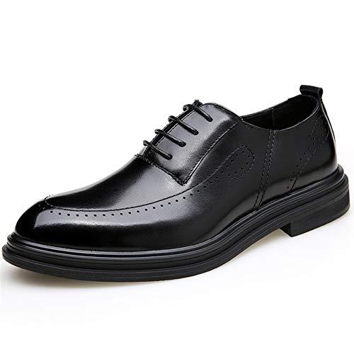 Best-choise Oxfords del Negocio for los Hombres Brogue Talla Zapatos Formales con Cordones del Dedo del pie Redondo de Cuero Genuino Informal Perforado Puntada Antideslizante Llamativo