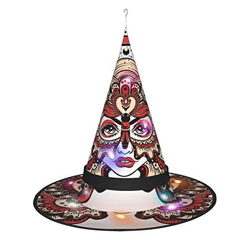 Ering6o Hermoso sombrero de bruja para nia con mariposa, para disfraz de Halloween, disfraz de disfraz, accesorio y uso diario