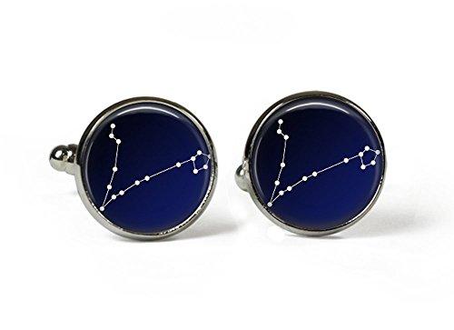 Zodiac PISCES Constellation-ciel en verre Boutons de manchette plaqué argent (Art Print (Photo)